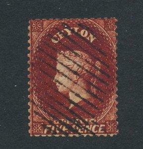 CEYLON 1862, 5d PERF 13 LIGHT BROWN, VF USED SG#40 CAT£150 (SEE BELOW)