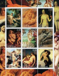 Tajikistan 2000 Famous NUDES Paintings of Women Sheet Perforated Mint (NH)