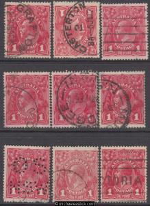 1d Red King George V Single W/mark (Type 2) Plate 4 - Nine (9) Pane 8 Varieties