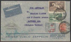 Uruguay 1930 Graf Zeppelin SAF Si61A Cover Lakehurst Chicago Pegasus 103390
