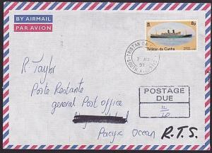 TRISTAN DA CUNHA 1997 Returned postage due cover to NORFOLK IS..............6064
