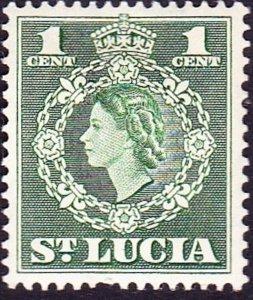 ST LUCIA 1954 QEII 1c Green SG172 MH