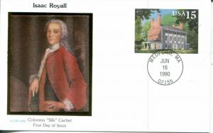 US FDC Scott #UX148 Isaac Royall. Colorano Cachet. Free Shipping.
