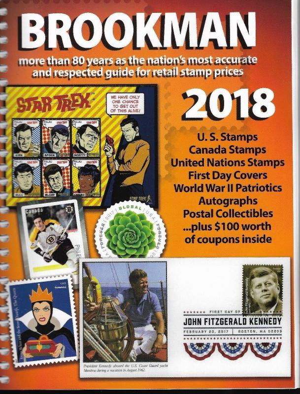 2018 Spiral Bound Brookman Canada US Stamps & Covers Price Guide Full Color