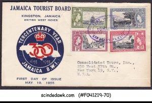 JAMAICA - 1955 TERCENTENARY YEAR - 4V - FDC