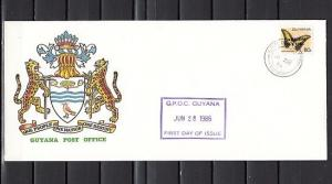Guyana, Scott cat. 1455. Butterfly value o/printed CARICOM. First day cover. *