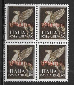 Montenegro Italian Occupation 2NC9 Airmail single BLOCK of 4 MNH