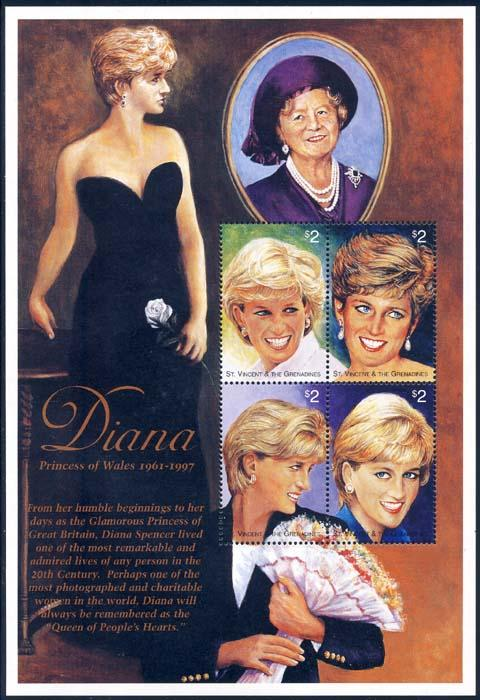 St Vincent 1997 Sc 2496-9 Diana Princess of Wales SS Stamp**