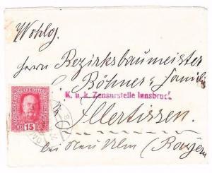 Austria 1916 Cover DALAAS KuK Zensurstelle Innsbruck Censor Österreich WW1