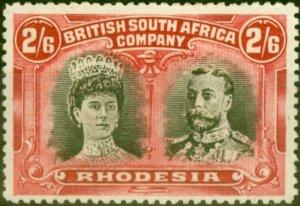 Rhodesia 1910 2s6d Bistre-Black & Crimson SG156a Fine & Fresh Mtd Mint