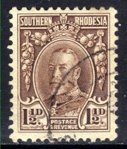 Southern Rhodesia 1931 - 37  KGV 1 1/2d used SG 16d perfs 11.5 ( D1363 )