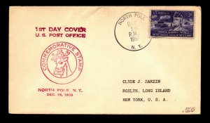1953 North Pole NY First Day Cover Service - N500