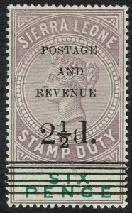 SIERRA LEONE 1897 QV POSTAGE AND REVENUE 21/2D ON 6D SG TYPE 10