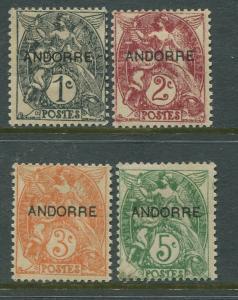 STAMP STATION PERTH Andorra #1-4 Definitivel Issue  MH Short Set of 4  CV$8.00