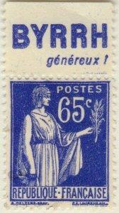 FRANCE - 1937 Pub BYRRH (généreux!) supérieure sur Yv.365b 65c Paix Obl. TB