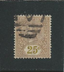CEYLON 1886 25c YELLOW-BROWN VALUE IN YELLOW GU SG 198a CAT £90