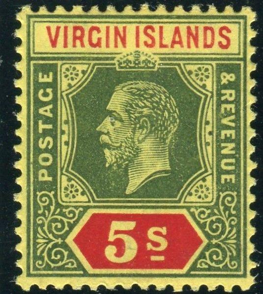 BRITISH VIRGIN ISLANDS-5/- Green & Red/Yellow.  A mounted mint example Sg 77