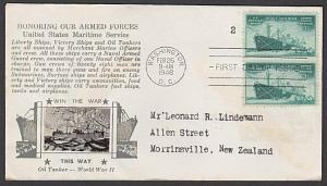 USA 1946 CROSBY photo FDC to New Zealand - Merchant Marine.................55352