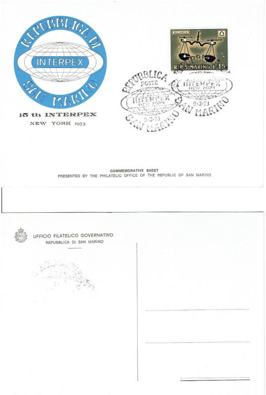 REPUBLIC of SAN MARINO, 4 MINT POSTCARDS, 15th INTERPEX IN NEW YORK 1973