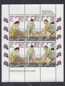 New Zealand, B111a, Boy/Girl Rock Pool Sheet(6),**MNH**