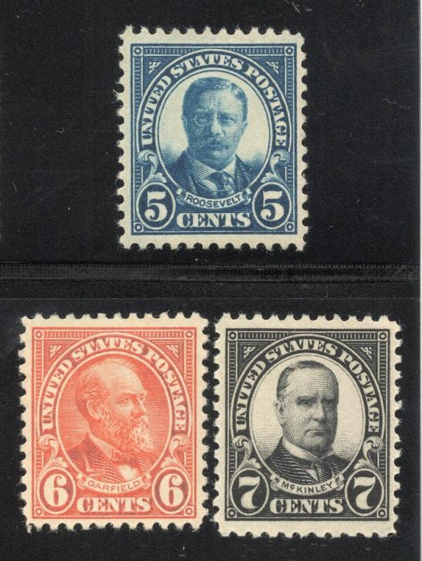 United States #557 to #559 - Unused - O.G.