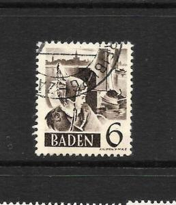 BADEN FRENCH ZONE  1948  6pf BROWN   FU  SG FB31