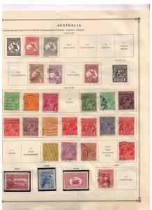 Australia 1913-1930 Used & MH On a old Scott Catalog Page W/Early Kangaroo & KGV