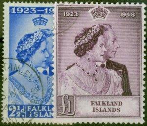 Falkland Islands 1948 RSW Set of 2 SG166-167 V.F.U