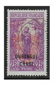Ubangi-Shari 1922 Woman 25 Vio & Salmon #30 Fine Used, Short perfs CV $9.50