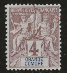 Grand Comoro Island Scott 3 MH* from 18971907 set
