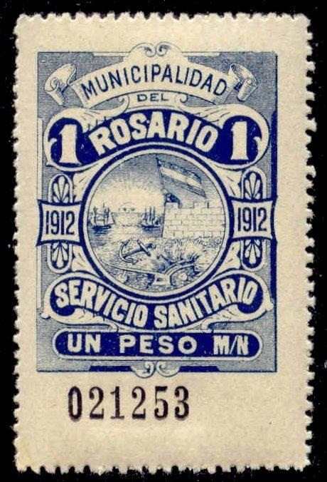 Rosario Argentina 1912 1P Hooker Tax Stamp mint remainder w/ control#