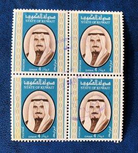 Kuwait Sc#763 Used 1978 4D Sheik Sabah Block Of Four VF CV$230