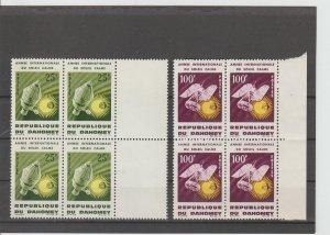 Dahomey  Scott#  196-197  MNH  Blocks of 4  (1964 Int'l Quiet Sun Year)