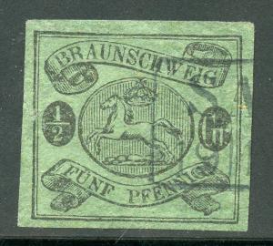 GERMAN STATES BRUNSWICK  SCOTT#6 USED 4  MARGIN  --SCOTT $240.00