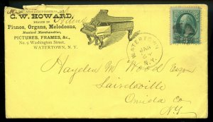 U.S. Scott 158 Bank Note on 1879 Ad Cover for Pianos in Watertown, NY w/Encl.