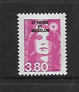ST. PIERRE & MIQUELON, 537, MNH, FRANCE OVPTD ST. PIERRE ET MIQUELON