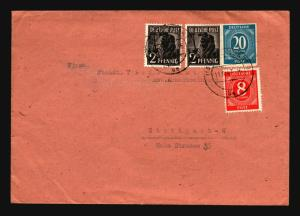 Germany 1947 Mixed Period Franking Cover to Stuttgart (II) - Z14428