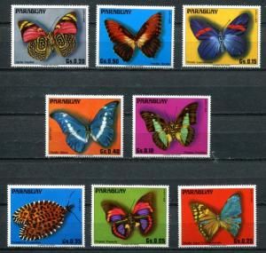 PARAGUAY 1976 BUTTERFLIES MINT COMPLETE  SET OF 8 STAMPS - $7.00 VALUE!