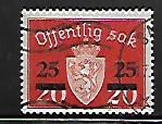 NORWAY, O57, USED, COAT OF ARMS SURCHARGED