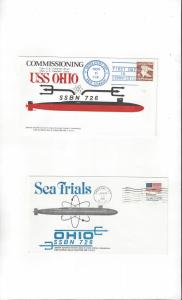 US Navy USS Ohio SSBN 726, 2 Covers, Commission