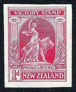 NEW ZEALAND SG454a 1920 Victory 1d bright carmine Imperf plate proof U/M
