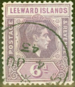Leeward Islands 1942 6d Dp Purple & Brt Purple SG109ab Broken E Variety V.F.U