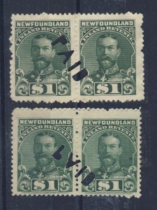 4x Newfoundland Revenue Stamps;  2x Pairs #NFR20 NFR25-N.I. Used Guide = $48.00