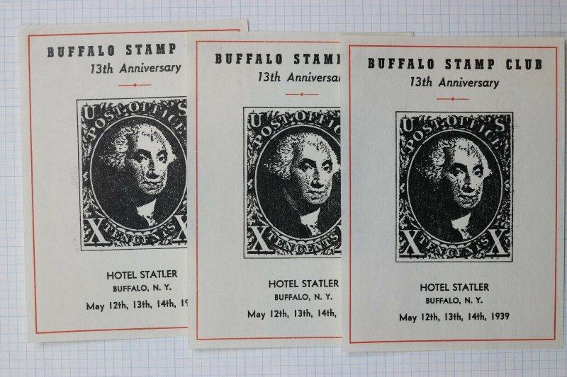 Buffalo NY Stamp Club US#1 X 10c Souvenir Label ad 1939 Watermark paper variety