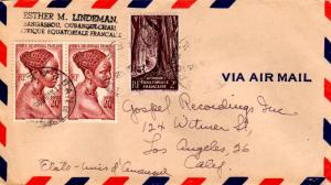 French Equatorial Africa 2F Gabon Forest and 20F Young Bacongo Woman (2) 1951...