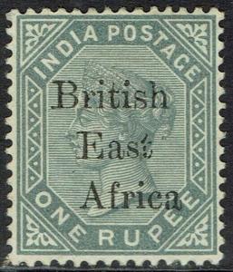 BRITISH EAST AFRICA 1895 QV INDIA 1R GREY NO GUM