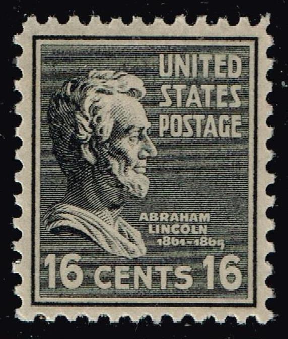 US STAMP #821 – 1938 6c Lincoln, black MNH/OG  XFS SUPERB