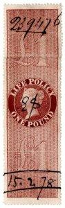 (I.B) QV Revenue : Life Policy £1 (1872)