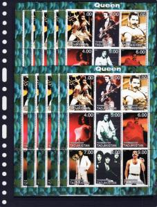 WHOLESALE LOT: Tajikistan 2000 QUEEN-Freddie Mercury Shlt (9) MNH x 10 Sheetlets