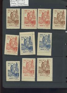10 VINTAGE 1913 ROUEN FRANCE CONCOURS DE PECHE POSTER STAMPS (L1032)